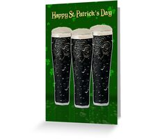 St. Patrick's Day Card With Three Pints of Irish Dry Stout Beer Greeting Card