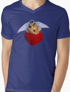 Angel Hamster with Heart Mens V-Neck T-Shirt