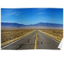 Highway through vast empty spaces Poster