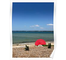 red umbrella on beach Poster