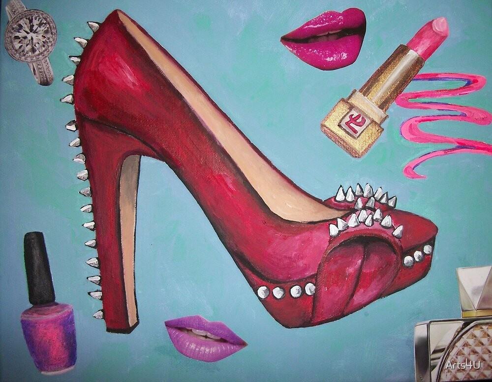 Spike Red Heel Pump Girl by Arts4U