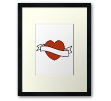 Red tattoo heart design Framed Print