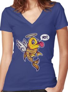 Angelic Fish Women's Fitted V-Neck T-Shirt