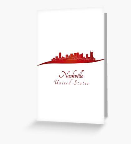 Nashville skyline in red Greeting Card