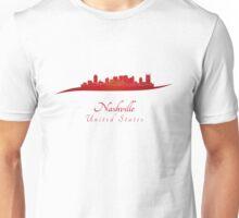 Nashville skyline in red Unisex T-Shirt