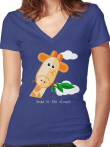 Head in the Clouds - Giraffe Design T Shirt Women's Fitted V-Neck T-Shirt