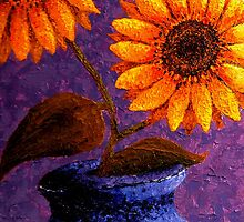 Sunflowers In Ceramic Pot by Annie Zeno