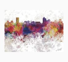 New Haven skyline in watercolor background Kids Clothes