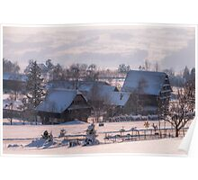 Snow-covered barns in Hamikon, Switzerland Poster
