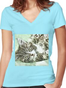 Wild nature - pussy #11 Women's Fitted V-Neck T-Shirt