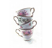 Classic Teacups Stack by Helga McLeod Photographic Print