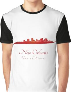New Orleans skyline in red Graphic T-Shirt