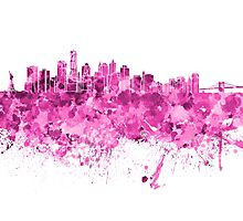 New York skyline in pink watercolor on white background Photographic Print