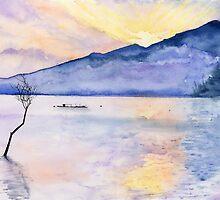 Morning Rays, Art Watercolor Painting print by Suisai Genki  by suisaigenki