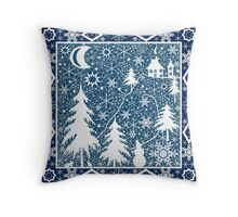 Christmas white lace ornament Throw Pillow