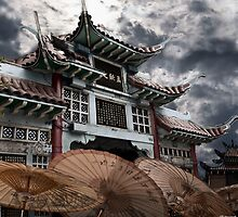 CHINESE TEMPLE GATE by Larry Butterworth