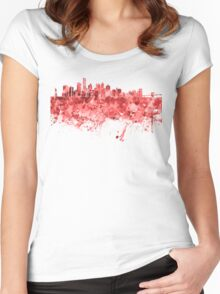 New York skyline in red watercolor on white background Women's Fitted Scoop T-Shirt