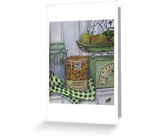Scale and apples still life Greeting Card