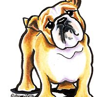 Portrait of a Fawn & White Bulldog by offleashart
