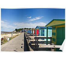 Colourful Beach Huts. Poster