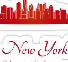 New York skyline in red Sticker