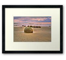 Moeraki Boulder, sunrise Framed Print