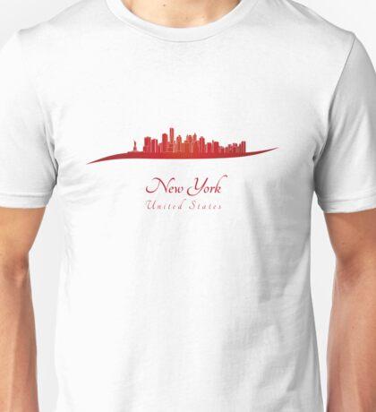 New York skyline in red Unisex T-Shirt
