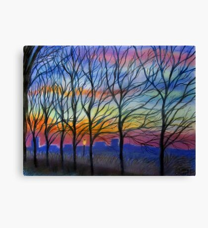 Sunset Trees in Washington Heights Canvas Print