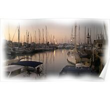 The marina sunset wet oil paint Poster