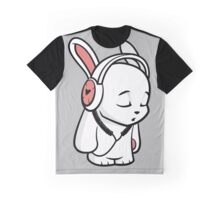 Love Music Cartoon Bunny with headphones Graphic T-Shirt