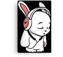 Love Music Cartoon Bunny with headphones Canvas Print