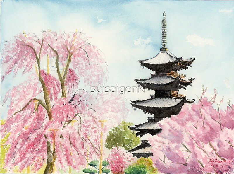 Japanese Temple Art Watercolor Painting print by Suisai Genki by ...