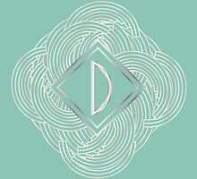 1920s Blue Deco Swing with Monogram letter D by CecelyBloom