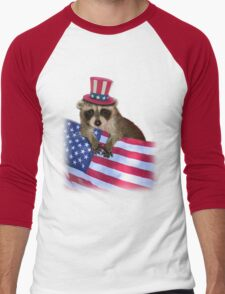 Patriotic Raccoon Men's Baseball ¾ T-Shirt