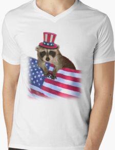 Patriotic Raccoon Mens V-Neck T-Shirt