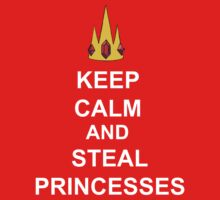 Keep Calm And Steal Princesses White Font One Piece - Short Sleeve