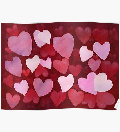 Heart , Valentine's Day , Valentines , LOVE , Art Watercolor Painting print by Suisai Genki Poster