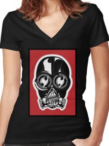Mask #1 Women's Fitted V-Neck T-Shirt