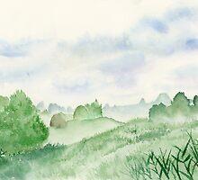 Foggy Green Field, Art Watercolor Painting print by Suisai Genki by suisaigenki
