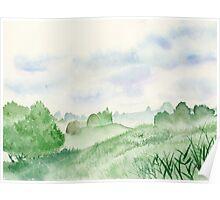 Foggy Green Field, Art Watercolor Painting print by Suisai Genki Poster