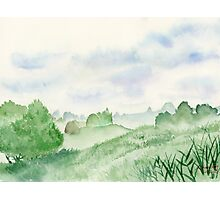 Foggy Green Field, Art Watercolor Painting print by Suisai Genki Photographic Print