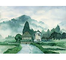 Japanese Village , After Rain , Art Watercolor Painting print by Suisai Genki Photographic Print