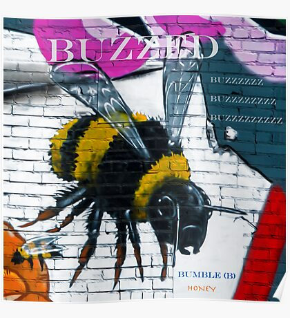 Buzzing Bubble Bee Poster