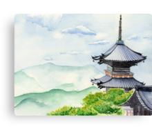 Japanese Temple, Kyoto , Kiyomizudera , Art Watercolor Painting print by Suisai Genki Canvas Print