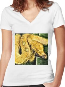 Wild nature - yellow snake  Women's Fitted V-Neck T-Shirt