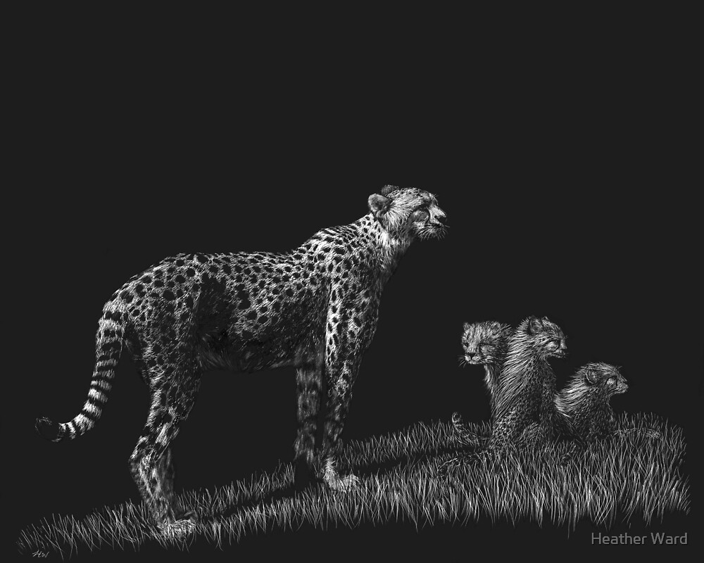 Guarding the Future - cheetahs by Heather Ward