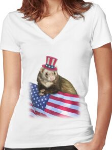 Patriotic Ferrot Women's Fitted V-Neck T-Shirt