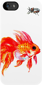 goldfish and cicada iPhone case by Ashley Peppenger