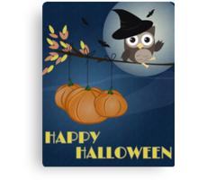 Owl Happy Halloween Canvas Print