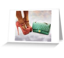 Vintage Chic Pink Stiletto Heels and Handbag Greeting Card
